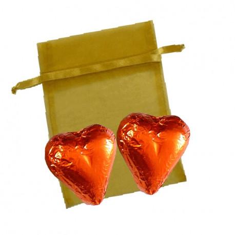 Sachet Organdi PM Coeurs Chocolat Praliné