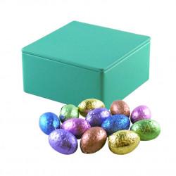 Boîte Métal Carrée Oeufs Chocolat Fourrés