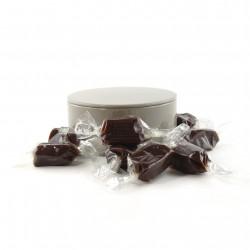 Boîte métal ronde caramels au chocolat