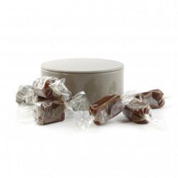 Boîte métal ronde caramels au café