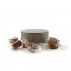 Boîte métal ronde caramels noisette