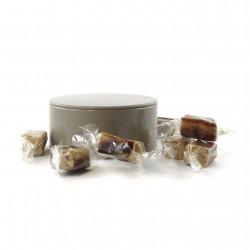 Boîte métal ronde caramels vanille chocolat