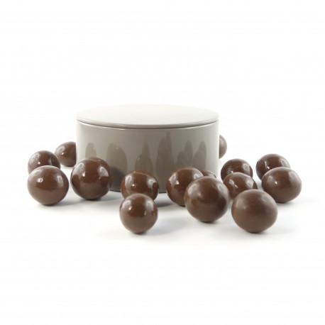 Boîte métal ronde noisettes chocolat lait