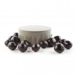 Boîte métal ronde noisettes chocolat noir