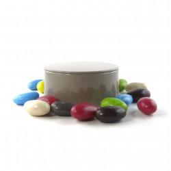 Boîte métal ronde amandes chocolat noir praliné
