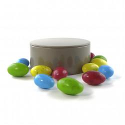Boîte métal ronde amandes chocolat lait praliné