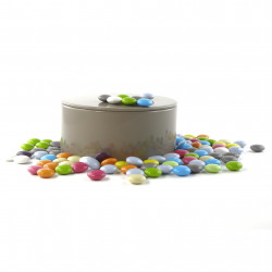 Boîte métal ronde mini palets de chocolat au lait