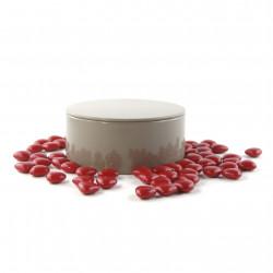 Boîte métal ronde de mini coeurs de chocolat noir