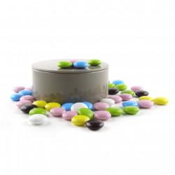 Boîte métal ronde de palets de chocolat noir