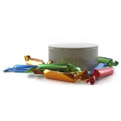 Boîte métal ronde de mini sucres d'orge