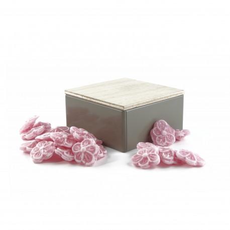 Boîte Métal Carrée Bonbons Rose