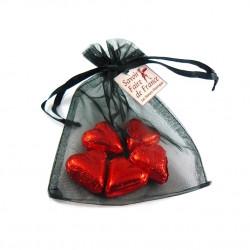 Sachet Organdi GM Coeurs Chocolat Praliné