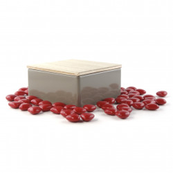 Boîte Métal Carrée Coeurs Chocolat Dragéifiés