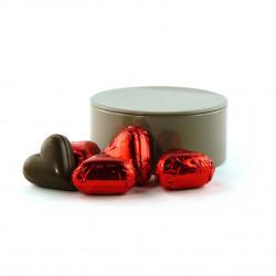 Boîte métal ronde Coeurs Chocolat Praliné